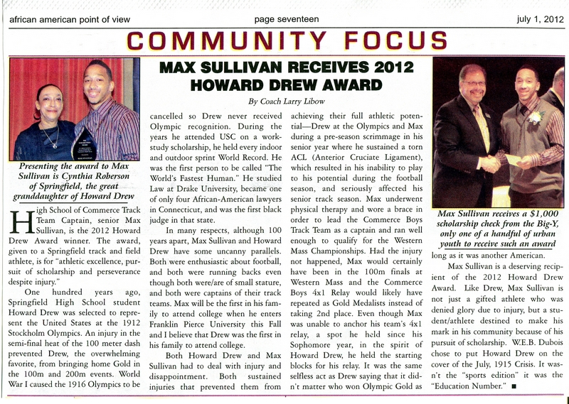 Max Sullivan receives 2012 Howard Drew Award